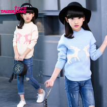 Play double padded shirts girls by the end of 2016 new winter sweater child children wear warm sweaters