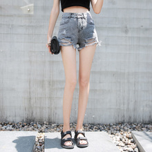 High-waisted hole gray fringe denim shorts female personality students loose wide leg hot pants female 2018 summer new