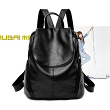 2017 new tide ladies backpack Korean fashion leisure all-match PU Leather Backpack Bag minimalist personality