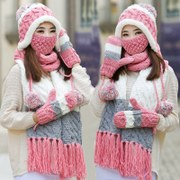 The wool hat scarf glove three suit one color scarf winter winter Girls Birthday Gift