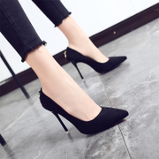 2017 new spring summer black high heels female with a fine pointed shoes Korean shoes all-match sexy shoes Asakuchi