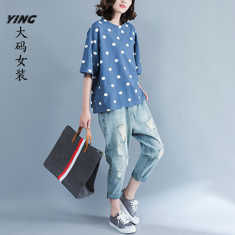 The large size women cotton polka dot print loose fat mm summer t-shirt female fat sister cover belly shirt