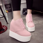 The spring and autumn of super thick bottom increased white shoe thin shoes pink shoes significantly higher Doug Korean foreign trade shoes