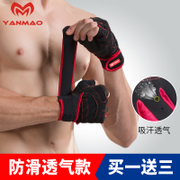 Male female fitness gloves instrument training dumbbell exercise bar half finger slip pull ups upward movement of equipment Bracers
