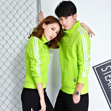 A couple of sport suit coat and running male Korean cultivating young male female long sleeved casual sportswear in autumn