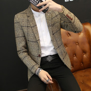 Spring and summer, thin Plaid small suit, young men's jacket, casual suit, Korean Style Men's suit jacket