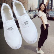 2017 new summer white shoes Korean shoes canvas shoes all-match shoes shoes slip on loafer students