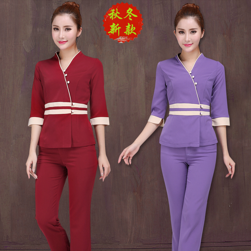 Non-bird Phoenix beautician uniform pants for work clothes women autumn and winter equipment beauty salon featuring cropped sleeves set rhyme