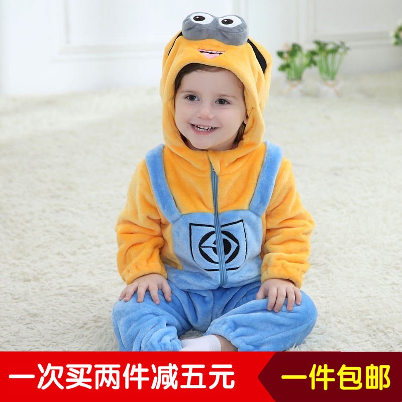 The little yellow man other newborn baby boy female baby clothes Siamese pajamas ha spring climbing clothes for one year