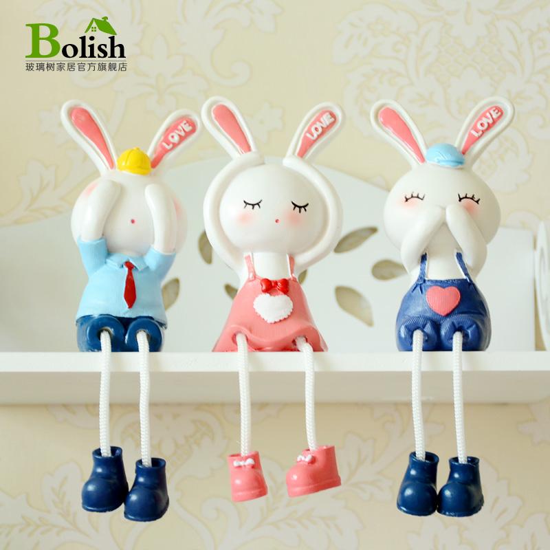 三不兔子吊脚娃娃树脂摆件家居客厅隔板装饰品创意礼物卡通一家人