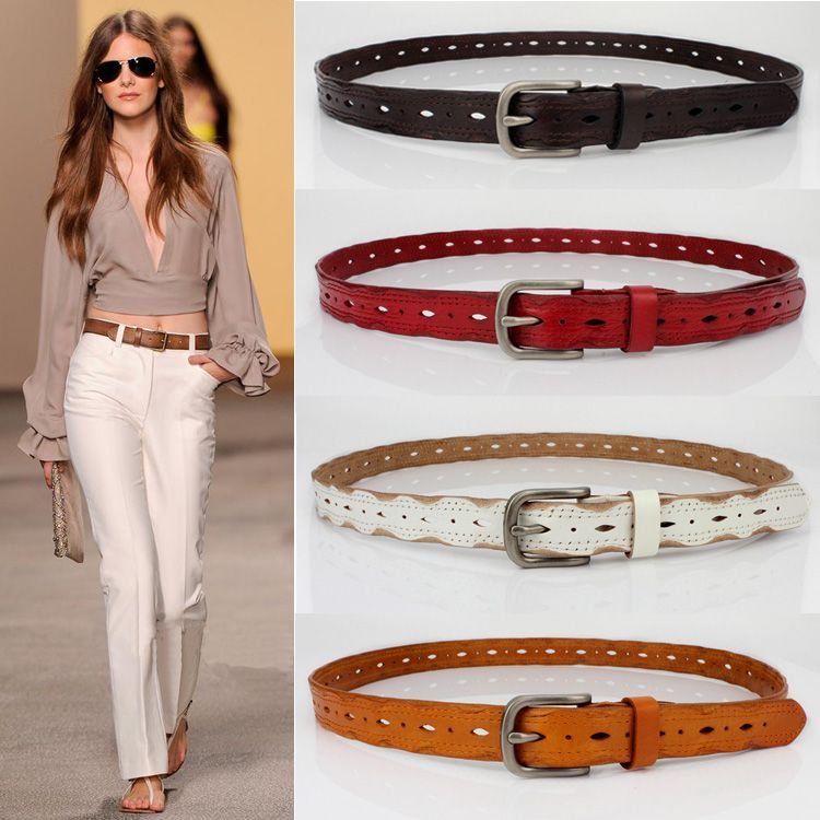Are the first layer of leather leather belt decoration simple leisure all-match fine leather belt Korean female jeans