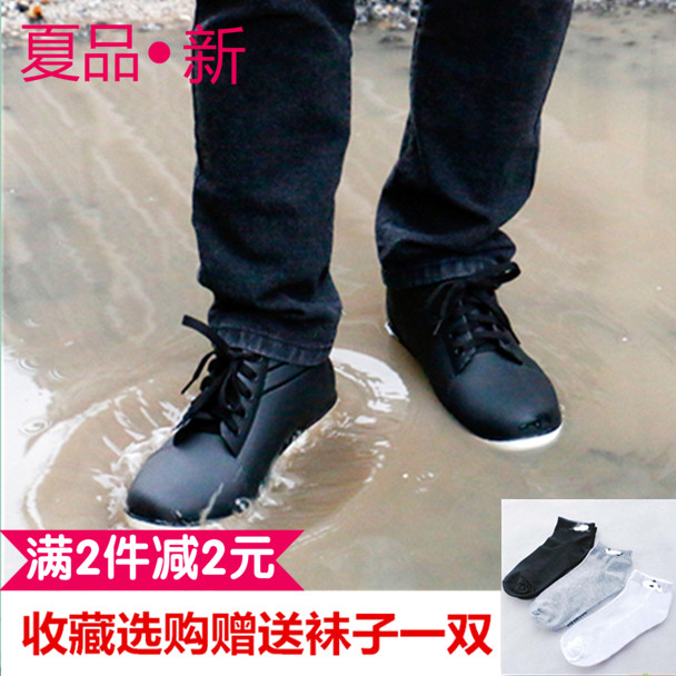 Male summer low slip boots boots and kitchen waterproof shoes with plastic imitation leather shoes men's cashmere tide