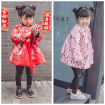 2016 winter new ethnic clubs to withhold the flowers and plush retro girls warm padded cotton jacket
