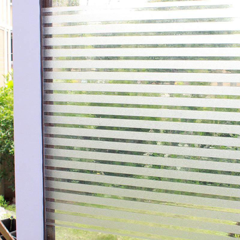 条纹磨砂玻璃贴膜办公室无胶静电透光半透明隔断窗户贴纸防晒窗贴