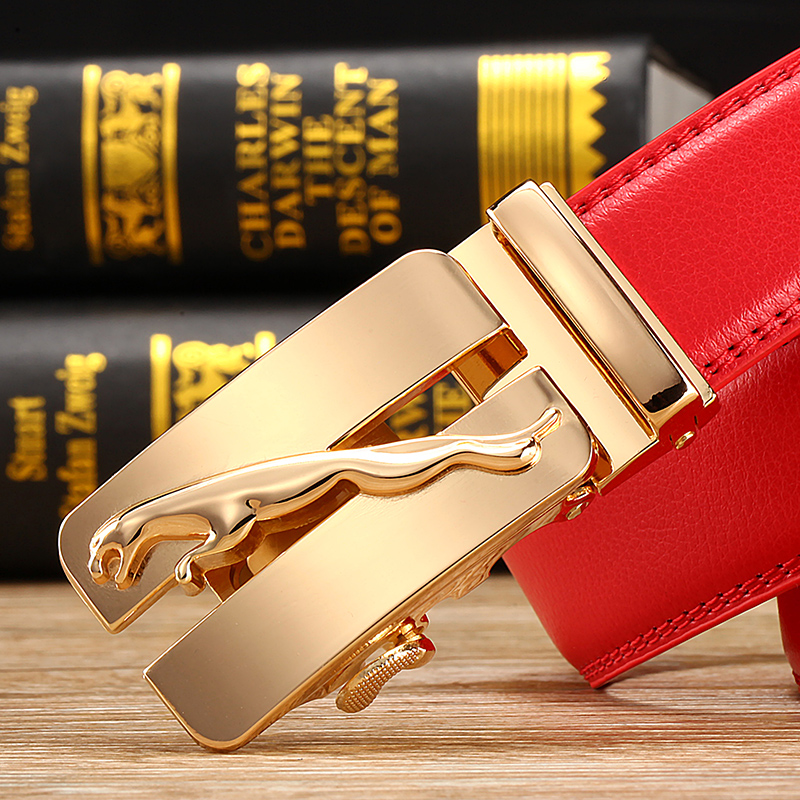 Men's fashion belt leather belt leather belt buckle all-match automatic red Metrosexual junior year of fate