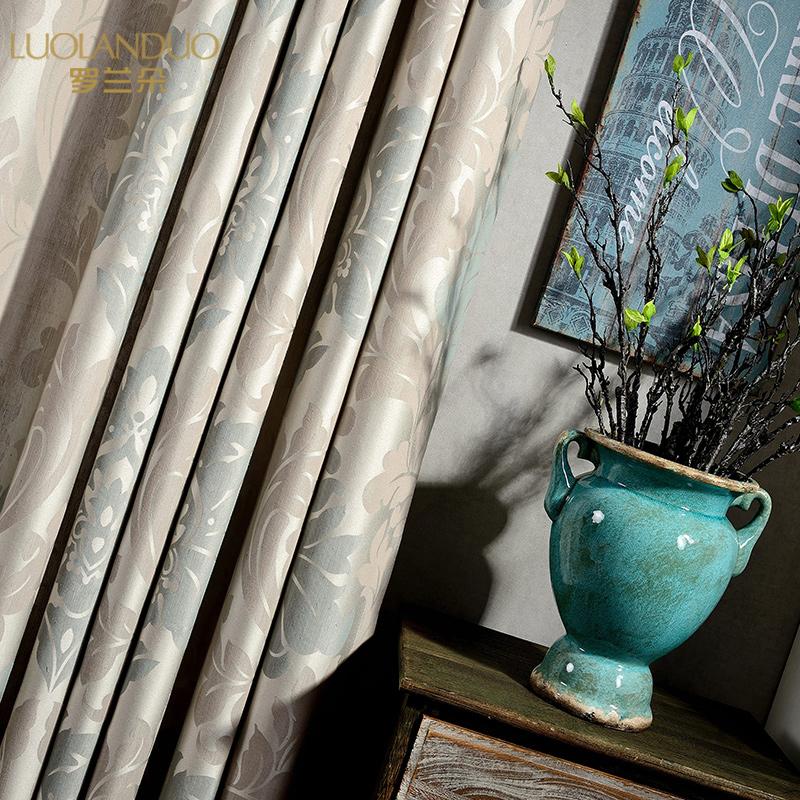现代简约欧式提花布艺窗帘成品定制客厅卧室飘窗加厚遮光窗帘布料