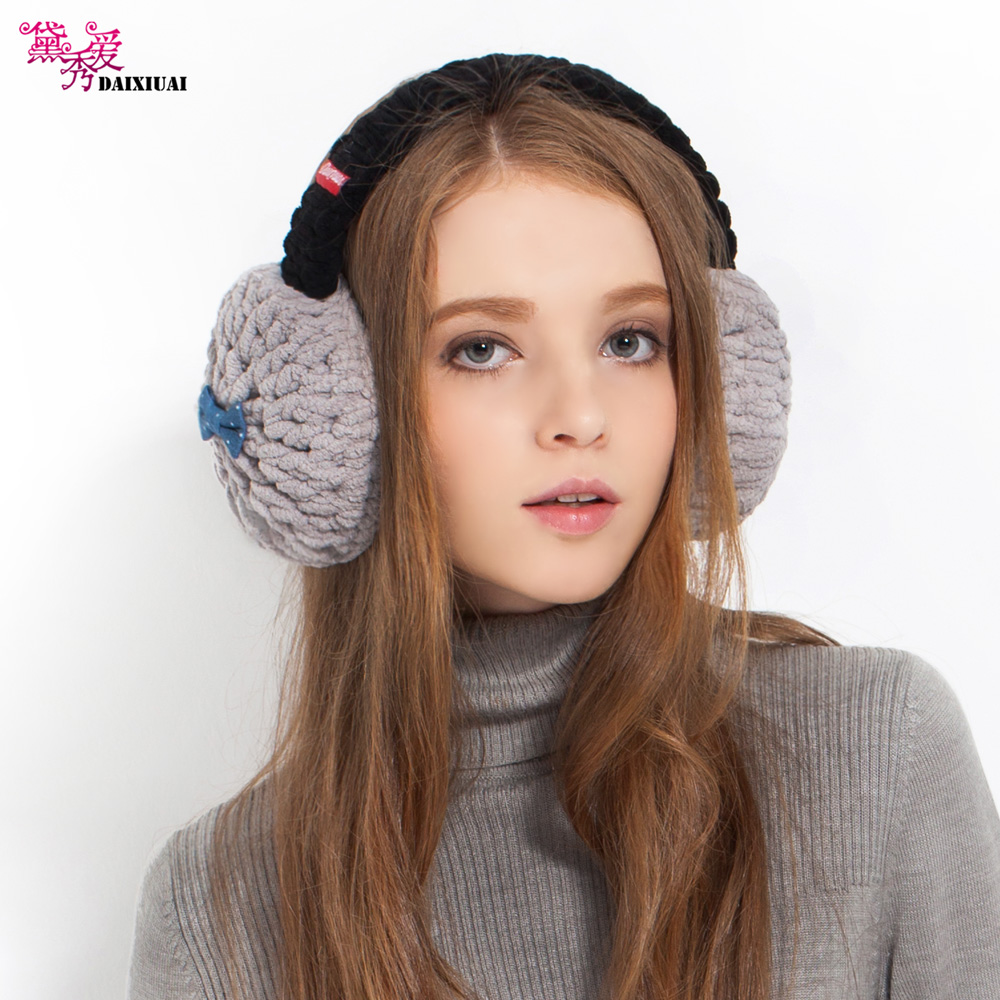 Super cute girls winter fashion woven Earmuffs Ear bag folding earmuffs Earmuffs Ear warm warm wool