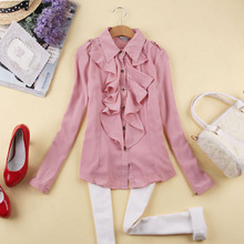 Autumn women's new sweet slim slim fungus flounced chiffon shirt bottoming shirt