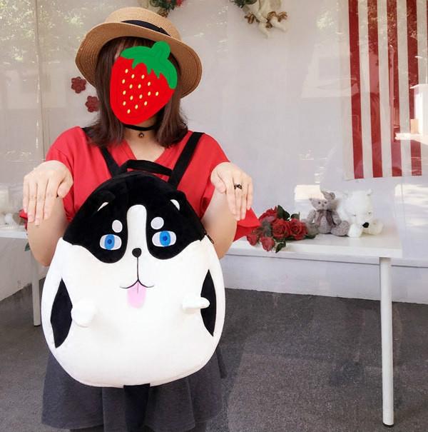 日本新款可爱卡通双肩背包女萌哈士奇书包狗狗学生情侣萌闺蜜书包