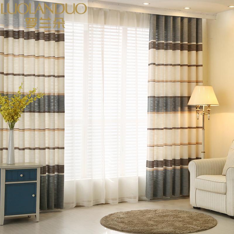 地中海棉麻条纹窗帘布成品遮光定制简约现代客厅卧室飘窗田园窗帘