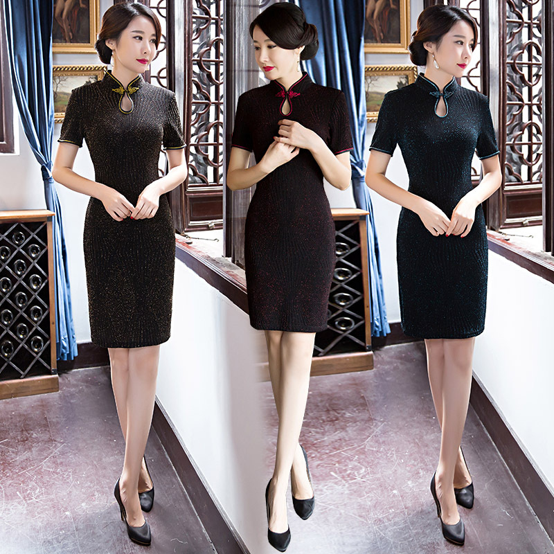 He Qi Han Guoliang silk of new fund of 2017 autumn outfit fashionable Chinese style restoring ancient ways is cultivate one's morality short daily improved qipao dress
