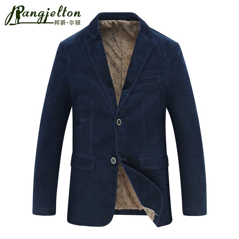 邦爵尔顿2016年秋装新款中年男士灯芯绒西服商务水洗休闲西装外套