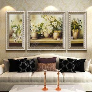 欧式手绘油画客厅装饰画沙发背景墙画油画简约餐厅挂画有框三联画