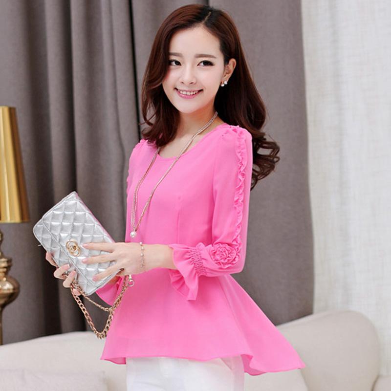 韩版品牌女装2015新款秋夏雪纺拼接女士长袖雪纺衫大码上衣