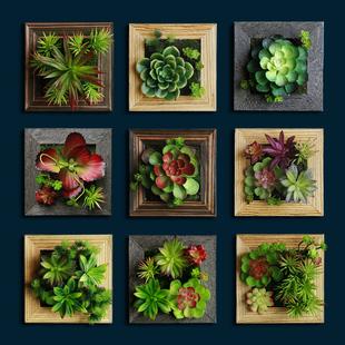 创意仿真植物墙 手工定制多肉植物壁挂 酒吧墙面装饰品 软装墙饰图片