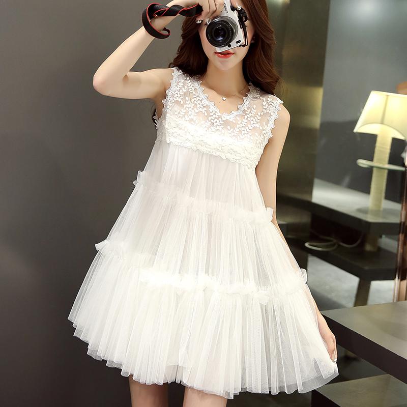 2015夏装新款韩版蕾丝娃娃连衣裙白色蓬蓬裙短裙女无袖高腰公主裙