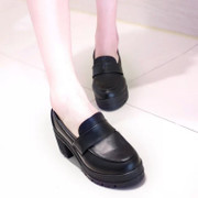 Japanese student shoes, JK uniform shoes, stage shoes, multi use Lolita, Lolita leather shoes, black high heels, cos shoes