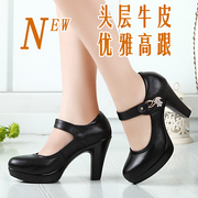 Leather shallow mouth, round head, single shoes, spring and autumn high-heeled shoes, thick with waterproof platform, word buckle, T, model shoes, female