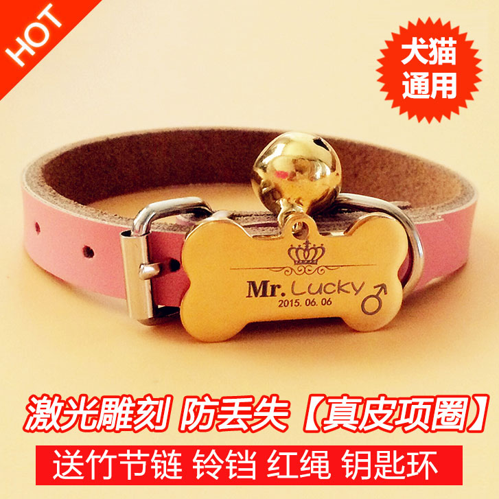 Pets free neck collar, bell, stainless steel, medium and small hook, Pet ID card, identification is not rusty