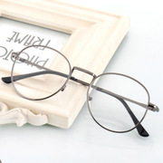 The retro glasses frame Mens Korean round glasses frame female full metal frame and anti radiation tidal flat mirror