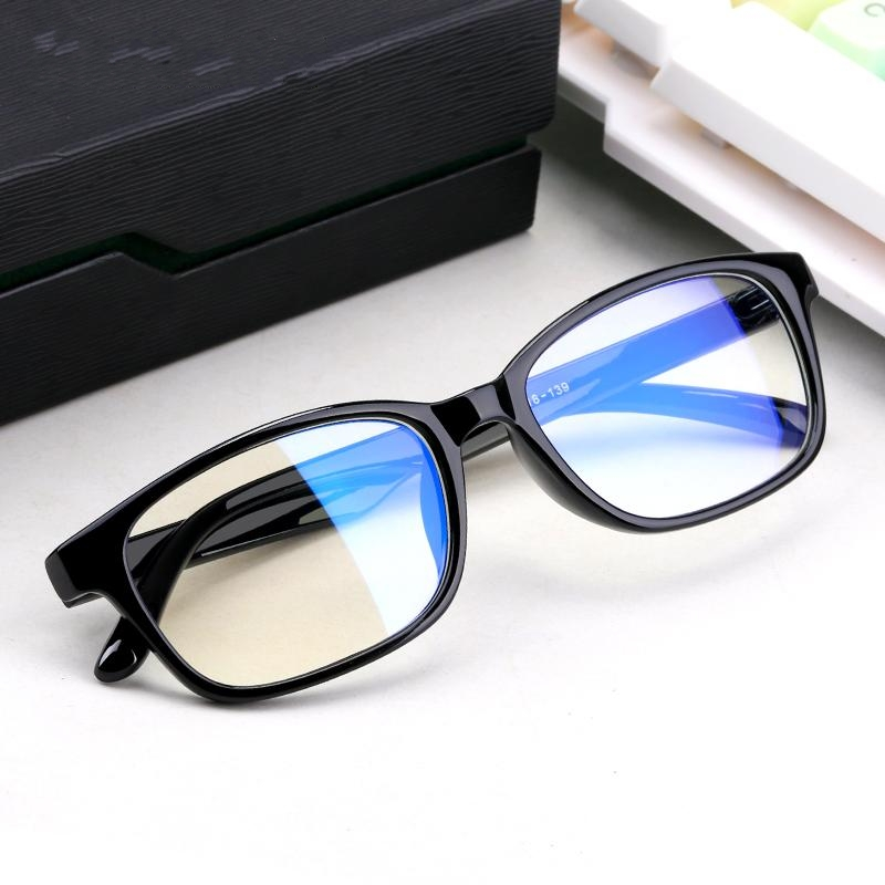 Radiation proof glasses female male blue light myopia glasses frame lightweight matte black box round one mirror