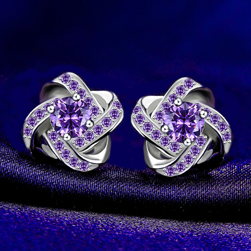 The new S925 pure Tremella jewelry female Earrings Amethyst Diamond temperament Korean anti allergy bag mail