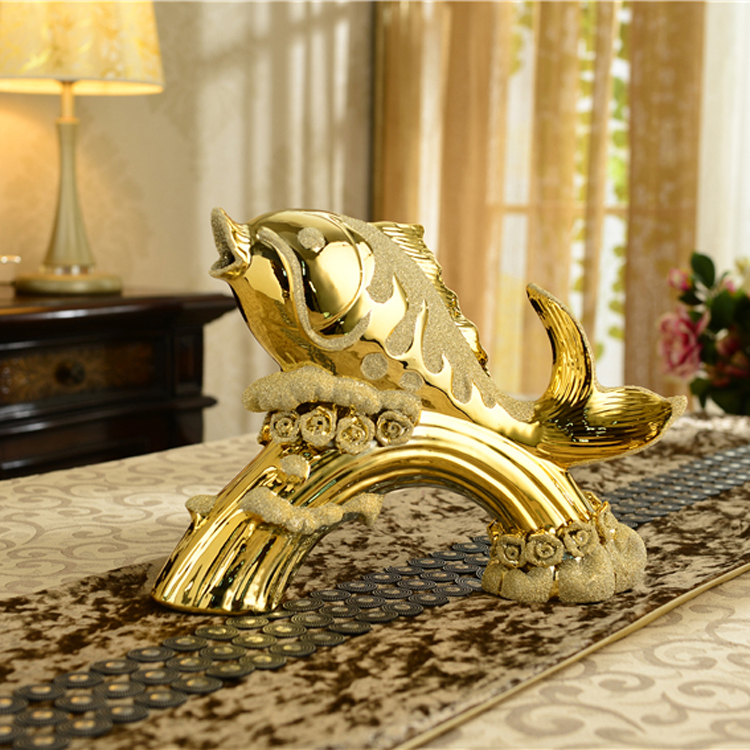 Luxury gold-plated household act the role ofing is tasted Carp jump longmen sitting room office home decoration ceramic furnishing articles
