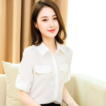 Summer overalls five points sleeve, new women loose, thin chiffon shirt, white collar, front desk make-up artist, professional shirt