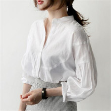 Spring and autumn linen cotton coat material inch shirt loose white shirt female Korean students long sleeved casual shirt
