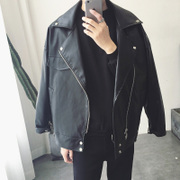 @ Aberdeen literary men Korean spring loose coat oversize personality temperament Men street tide leather