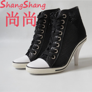 High in the summer of 2017 the new leather for shoes, sports shoes in Europe and the female hollow out fine screen cloth with high heel fashion shoes