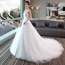 2017 new bride wedding dress long tail Princess sexy bra shoulder court simple word