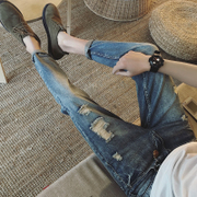 Summer, thin paragraph nine jeans, young men's feet, self-cultivation Korean version, broken Haren pants, men's pants trend