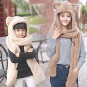 New coltsfoot Vipshop female han edition hat scarf gloves 3 plus one suit parent-child children lovely scarf