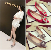 Europe flat shallow mouth pointed women shoe buckle 2016 Diamond Satin Wedding Shoes and leisure