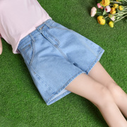 2017 new summer denim shorts female Korean waist skinny pants loose wide leg pants a embroidered skirts