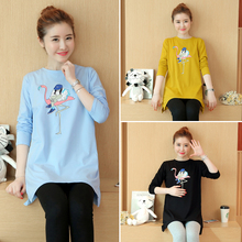2017 pregnant women with autumn spring and autumn in the long sleeved t-shirt size clothes fashionable loose T-shirt