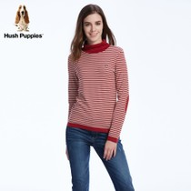 HushPuppies Hush Puppies fall ladies cotton high collar pin-striped long sleeve t-shirt HC-14511