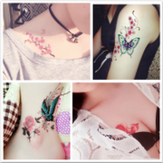 A copy of 30 women's tattoo waterproof lasting lasting tattoo stickers chest cover scar flowers set