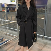 South Korea waist tie loose spring in the long woolen coat retro BF thin cardigan wool coat female